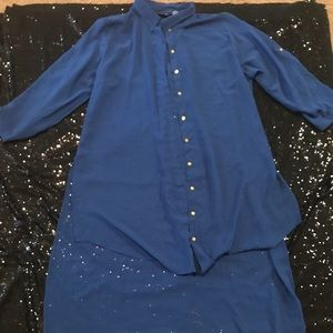 PLUS SIZE 3x HIGH LOW SHEER BUTTONS DOWN BLOUSE